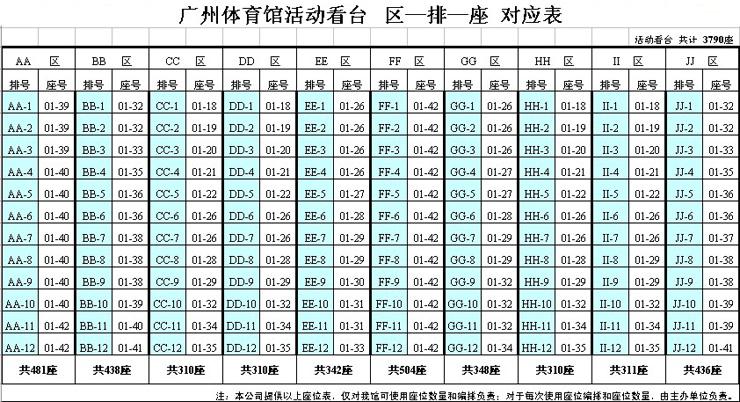 座位表----广州体育馆-广州亚运会场馆---广州珠江